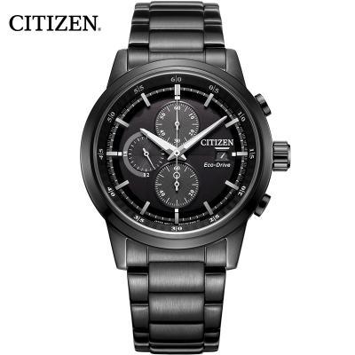 西铁城(CITIZEN)手表男 日本光动能不锈钢表带防水时尚运动炫黑三眼计时多功能男表 CA0615-59E