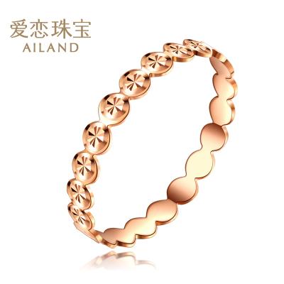 愛戀珠寶 18k金彩金戒指女款簡約尾戒 玫瑰金指間戒白領日常