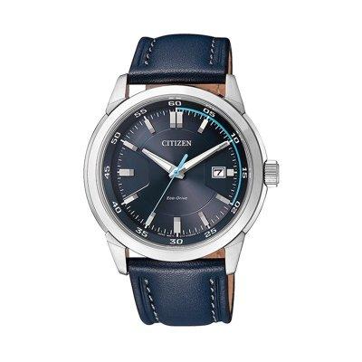 西鐵城CITIZEN 光動能時尚藍小牛皮表帶男士手表運動防水腕表 BM7140-11L