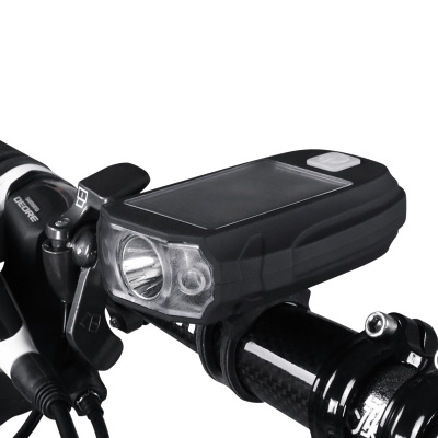 永久太陽能充電自行車燈山地車前燈強光手電筒USB充電騎行裝備LED燈珠續航可達8小時