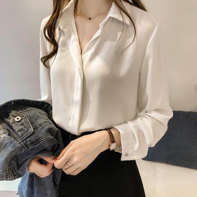 2020新款春裝潮流襯衫女設計感小眾上衣大碼職業洋氣雪紡長袖襯衣