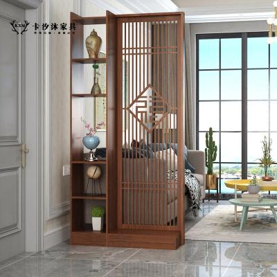 卡汐沐中式屏風隔斷裝飾客廳柜木質簡約現代小戶型臥室玄關雙面移動座屏