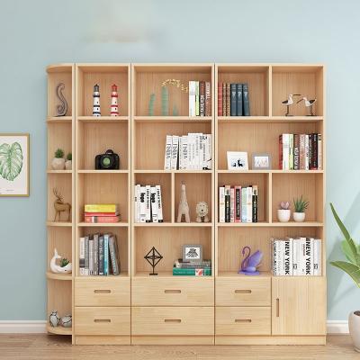 闪电客实木书柜书架自由组合简约落地储物收纳柜多功能儿童松木书橱带门 原木无漆抽屉款全套