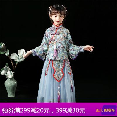 中国风儿童旗袍秋女童宝宝拜年服小女孩汉服唐装公主长袖秀禾服冬