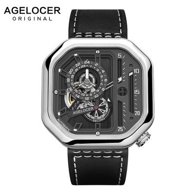 瑞士(Agelocer)艾戈勒手表 方形潮流男士手表 皮帶大表盤男表 全自動機械表 男款運動手表大爆炸系列 A5001
