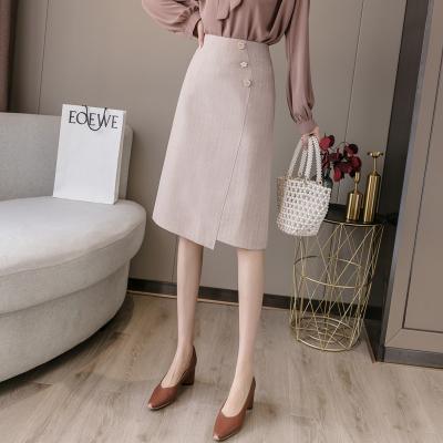 魅芷(MeiZhi)2020秋季適合胯大腿粗裙子中長款開叉A字裙一步職業半身裙