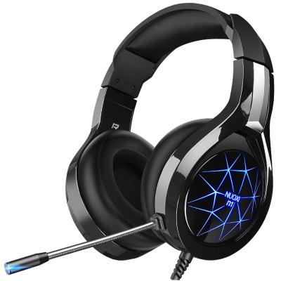 諾西 N1耳機頭戴式電腦耳機臺式電競游戲耳麥網吧帶麥吃雞有線帶話筒臺式機筆記本手機女生男通用重低音(黑色升級版雙孔板)