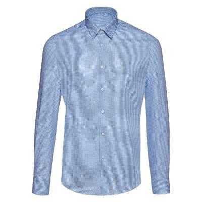 碼尚定制MatchU埃及棉商務免燙襯衫 購買后會發送量體鏈接 2020春秋新款全棉男士商務襯衫 淺藍小格紋
