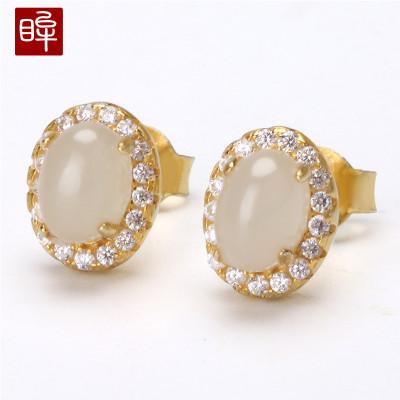 印象眸 金镶玉925银镀18k金和田玉白玉耳钉女款气质镶钻耳环饰品