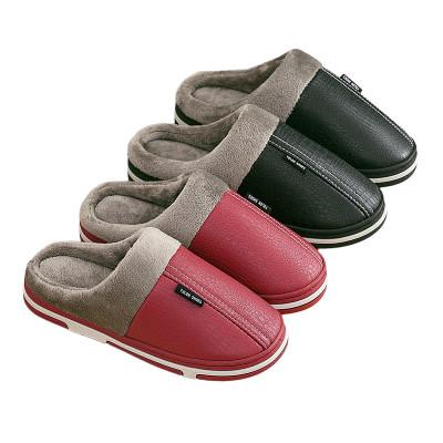 秋冬季棉拖鞋女冬天室内情侣家居防滑防水pu皮家用加厚保暖棉拖男冬