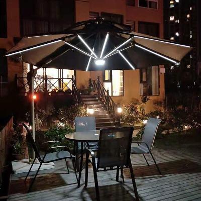 杞沐戶外遮陽傘庭院傘陽臺太陽傘擺攤羅馬太陽能傘帶LED燈方形3米大傘