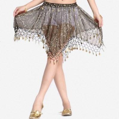 飞魅 肚皮舞裙子 短角裙 肚皮舞短裙亮点网布吊币短裙