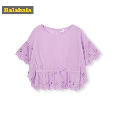 巴拉童裝女童襯衣洋氣兒童襯衫短袖夏裝新款小童寶寶田園風棉