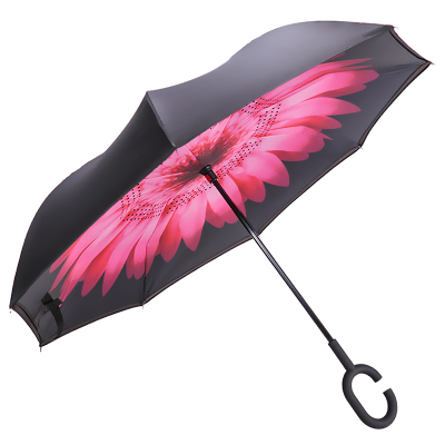 娇夏 双层免持式长柄直杆车载反向伞晴雨伞 粉红色 JX18003E