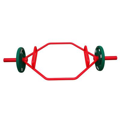 大环形杠铃杆大孔小孔 目字形杠铃杆 二头肌训练杆 六角奥杆硬拉