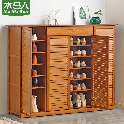 木马人 鞋柜家用门口收纳鞋架子多层简易经济型置物架实木宿舍防尘
