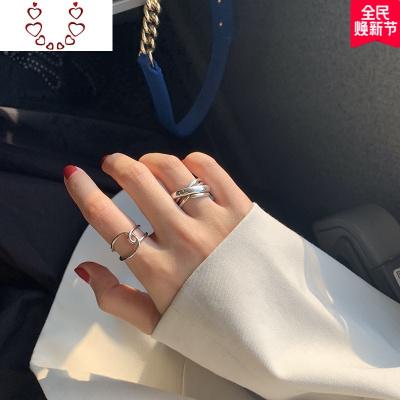 【迷度】簡約線條設計感開口戒指環女個叉戒指街拍漢服搭配 Chunmi