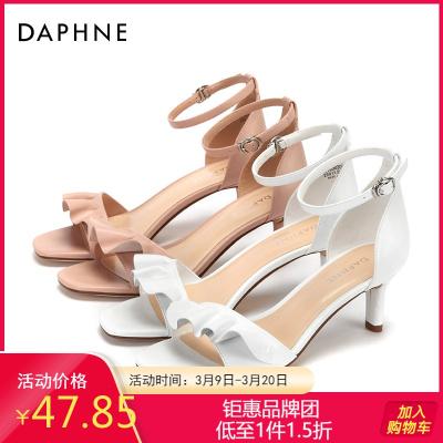 Daphne/達芙妮正品高跟鞋花朵婚鞋舒適潮流荷葉邊時尚舒適涼鞋女