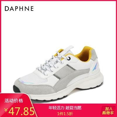 Daphne/達芙妮春新款系帶眼休閑運動鞋撞色老爹鞋女1018404197