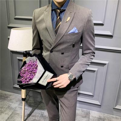 華中銘(HUAZHONGMING)高檔男士西服套裝三件套韓版修身帥氣英倫風青年商務休閑西裝職業正裝工作服結婚新郎伴郎禮服
