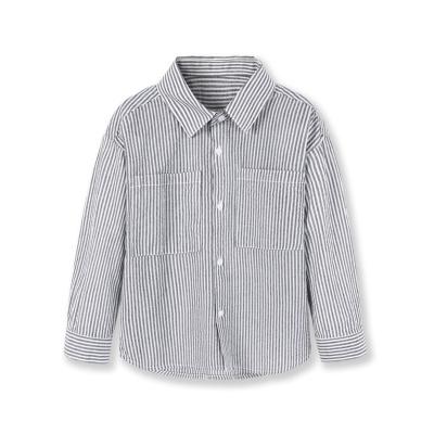 巴拉巴拉儿童衬衫男童衬衣2019新款春装宝宝长袖上衣童装简约条纹