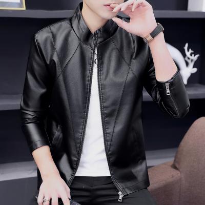 藍縷金(LANLVJIN)皮衣男春秋季新款水洗皮外套青年立領修身短款上衣韓版帥氣純色拉鏈收口男裝2020