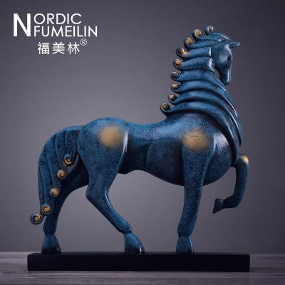 歐式美式新中式將軍馬擺件樣板間裝飾品客廳書柜酒柜裝飾工藝品