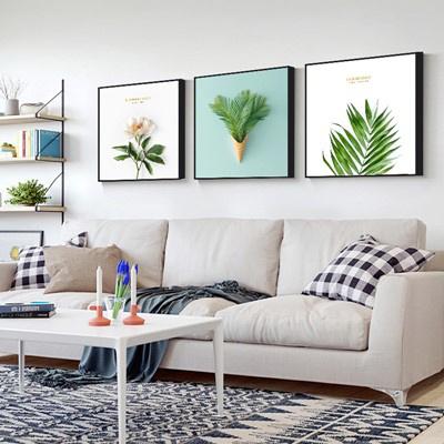 北歐客廳裝飾畫沙發背景墻壁畫古達現代簡約三聯畫臥室 姜黃色 50*50【適合2.5米左右墻面】12mm中板+防水布紋膜+