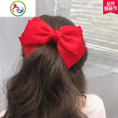 新款韓國甜美紅色三層大蝴蝶結發夾可愛馬尾夾彈簧夾少女頂夾發飾 JING PING