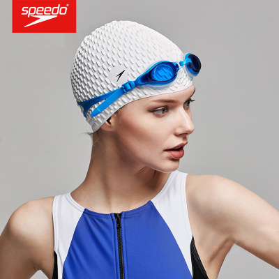 速比濤speedo泳帽女 長防水硅膠游泳帽大號泡泡成人護耳游泳帽