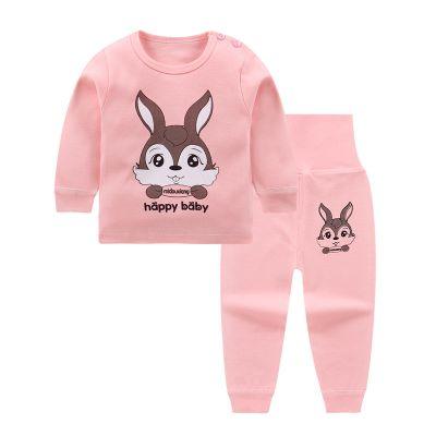 2020春秋兒童內衣套裝寶寶高腰秋衣秋褲嬰兒衣服男童女童肩扣睡衣