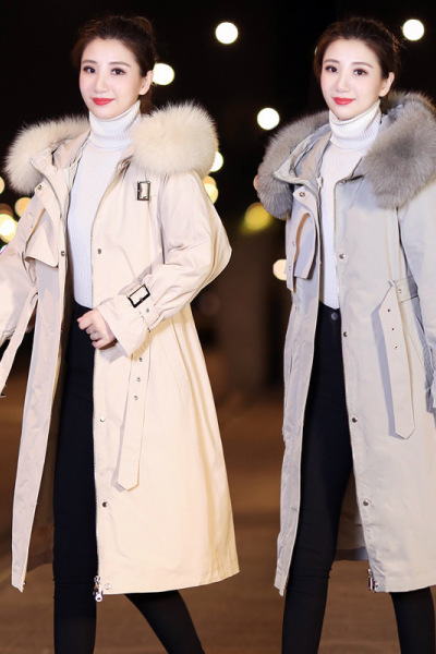 子沫雨JMOORY可脱卸内胆羽绒服女2020新中长过膝时尚狐狸真毛领派克服冬季女装