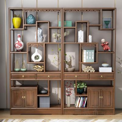 博古架实木中式南榆木古董架多宝阁仿古家具茶叶茶室展示柜置物架