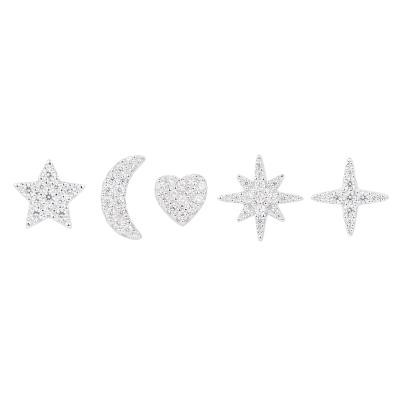 【直营】apm MONACO混搭风耳钉组合925银镶晶钻女士耳钉耳坠耳环送恋人