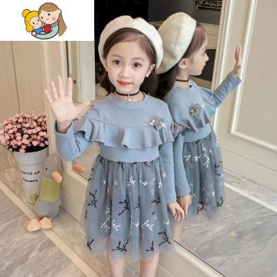 小童超洋氣女童春秋裝公主連衣裙子兒童女寶寶女寶小女孩春裝打底