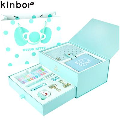 kinbor公主梦粉蓝DTB6507 手帐14件文具礼盒套装(皮面手账本子/钢笔/和纸胶带) 记事本笔记本文具本子