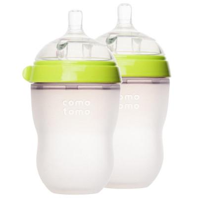 可么多么(como tomo)EN250TG 嬰兒全硅膠防摔奶瓶 綠色 寬口徑 250ML 兩個裝