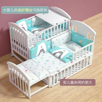 嬰兒床實木歐式可移動寶寶bb新生兒多功能搖籃兒童拼接大床