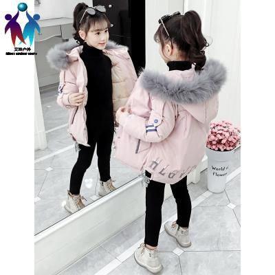 【厂家直营】女童棉服2019新款小女孩外套韩版童装洋气儿童冬装中长款羽绒棉衣