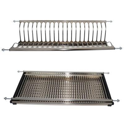 304不銹鋼櫥柜雙層碗盤瀝水架 廚房吊柜碗碟架櫥房置物滴水架打孔 201不銹鋼.800柜