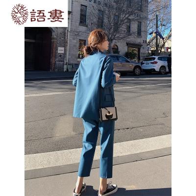 小西裝外套女韓版ins潮網紅英倫風輕奢西服法式氣質垂感早春套裝  語婁