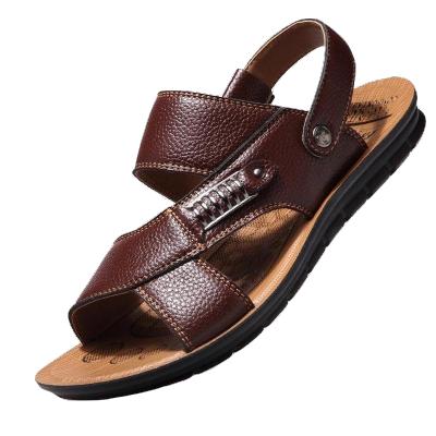 夏季男士涼鞋男真皮透氣運動沙灘鞋防滑板鞋新款休閑套腳牛皮拖鞋爸爸男鞋 莎丞