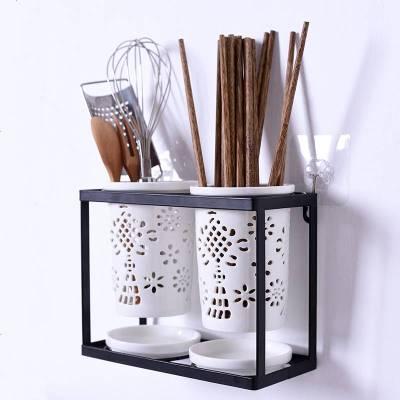 可挂式家用陶瓷筷子筒日式防霉透气镂空筷子盒沥水收纳笼