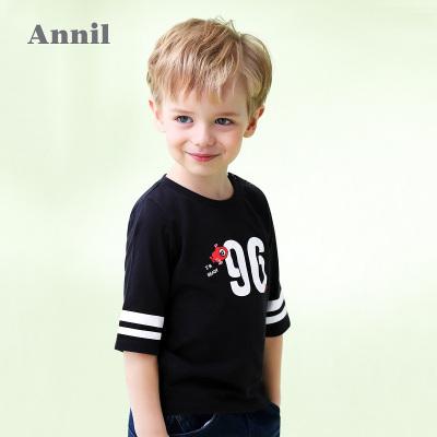 安奈儿童装男童t恤全棉萌趣图案潮圆领中袖夏装新款洋气潮