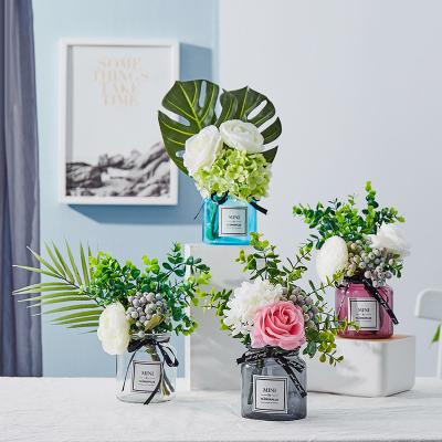 北欧ins玻璃小花瓶家居客厅摆件干花花束餐桌鲜花插花桌面装饰品