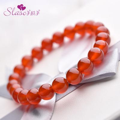 手拉手(Slaso) 天然红玛瑙手链男女通用款 红玛瑙手串 送恋人送妈妈送婆婆 珠宝王国认证品牌