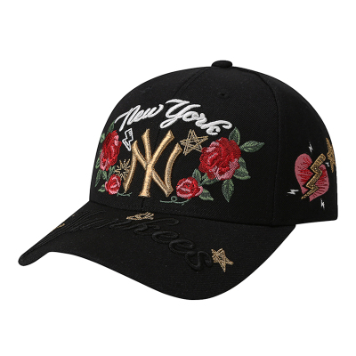 MLB美職棒男女士情侶個性時尚棒球帽子韓版潮NY洋基隊玫瑰花刺繡遮陽帽休閑運動帽旅游