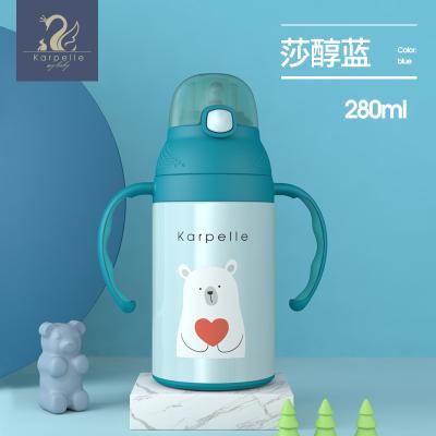 英國karpelle 嬰兒保溫杯帶吸管杯 兒童學飲杯寶寶水壺防嗆摔水杯