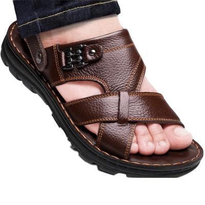 男士凉鞋男夏季PU防滑沙滩鞋男鞋头层牛皮拖鞋 莎丞