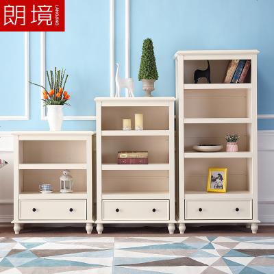 顧致美式鄉村書柜書架組合簡約白色小戶型書房家具單個書柜儲物柜